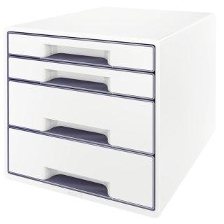 5213 Schubladenbox WOW CUBE - A4/C4, 4 geschlossene Schubladen, perlweiß/grau