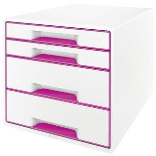 5213 Schubladenbox WOW CUBE-A4/C4,4 geschlo. Schubladen,perlweiß/pink metallic