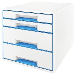 5213 Schubladenbox WOW CUBE-A4/C4,4 geschlo. Schubladen,perlweiß/blau metallic