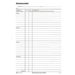 Wochenzettel - Block, 100 Blatt, DIN A4, Montag - Sonntag