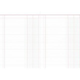 Spaltenbuch mit 2 Spalten, 60 Seiten, DIN A4, rot/grau liniert