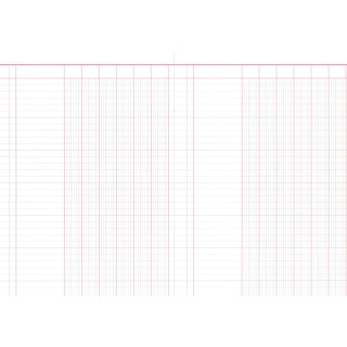 Spaltenbuch mit 6 Spalten, 60 Seiten, DIN A4, rot/grau liniert