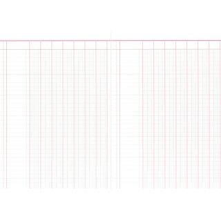Spaltenbuch mit 7 Spalten, 60 Seiten, DIN A4, rot/grau liniert