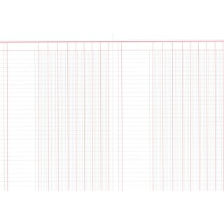 RNK Verlag Spaltenbuch mit 8 Spalten, 60 Seiten, DIN A4, rot/grau liniert