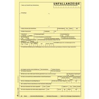 Unfallanzeige für Arbeitsunfall - SD, 1 x 5 Blatt, DIN A4, + 1 Seite Hinweise