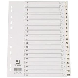 Zahlenregister - 1 - 20, PP, A4, 20 Blatt, weiß