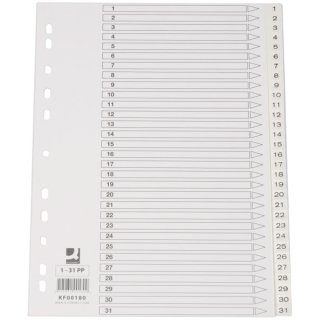 Zahlenregister - 1 - 31, PP, A4, 31 Blatt, weiß