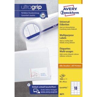 Avery Zweckform® 3671 Universal-Etiketten, 64 x 45 mm, 100 Blatt/1.800 Etiketten, weiß