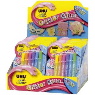 UHU® Young Creativ Glitter Glue SHINY - 6 x 10 ml, 6 Farben sortiert, Infokarte
