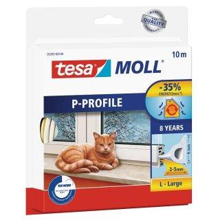 tesamoll Gummidichtung für Fenster und Türen, weiß, CLASSIC, P-Profil, 10m x 9mm x 5,5mm
