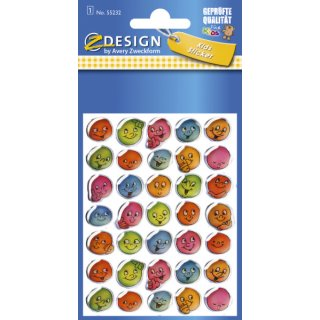 Avery Zweckform® Z-Design 55232, Deko Sticker, lustige Gesichter, 1 Bogen/35 Sticker