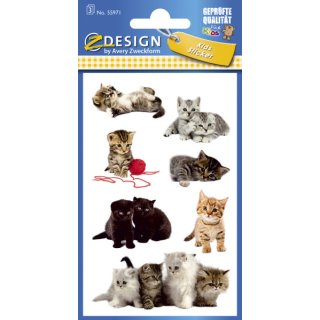 Avery Zweckform® Z-Design 55971, Kinder Sticker, Katzen-Babies, 3 Bogen/21 Sticker