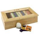 TEEBOX mit 4 Fächern, Aufschrift Tee, aus hellem...