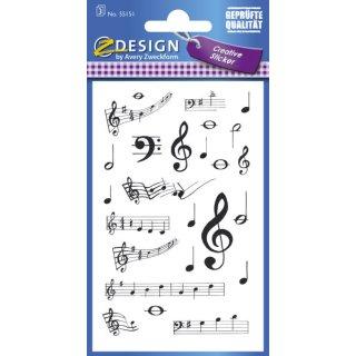 Avery Zweckform® Z-Design 55151, Deko Sticker, Noten, 3 Bogen/75 Sticker