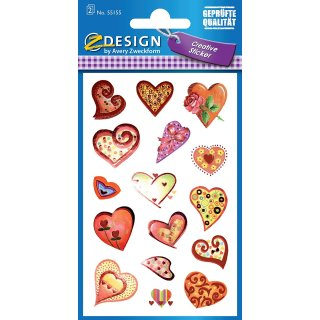 Avery Zweckform® Z-Design 55155, Deko Sticker, Herzen, 2 Bogen/32 Sticker