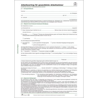 Arbeitsvertrag für gewerbliche Arbeitnehmer, 2 Seiten, DIN A4