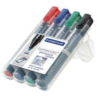 Permanentmarker Lumocolor® 352, nachfüllbar, STAEDTLER Box mit 4 Farben