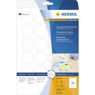 HERMA Etiketten transparent Ø 40 mm rund Folie matt 600 St.