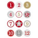 15254 Sticker DECOR Adventskalendersticker 1-24 - rot,...
