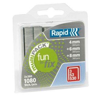 RAPID Heftklammern 53/4-6-8mm, verzinkt, Blisterverpackung, 1080 Stück