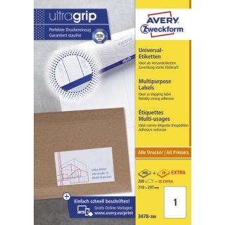 3478-200 Universal-Etiketten-210 x 297 mm, weiß, 220 Etiketten/220 Blatt, perm.