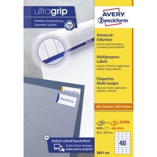Avery Zweckform® 3651-200 Universal-Etiketten, 52,5 x 29,7 mm, 200 Blatt/8.000 Etiketten, weiß