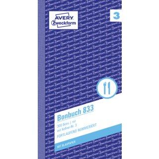 833 Bonbuch, Kompaktblock, mit Kellner-Nr., 2 x 50 Blatt, pink