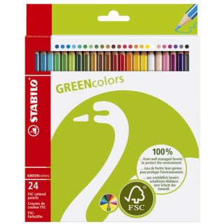 Buntstift GREENcolors, Kartonetui mit 24 Stiften