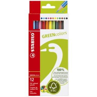 Buntstift GREENcolors, Kartonetui mit 12 Stiften