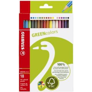 Buntstift GREENcolors, Kartonetui mit 18 Stiften