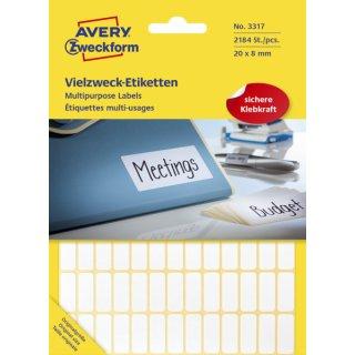 3317 Universal-Etiketten - 20 x 8 mm, weiß, 2.184 Etiketten/28 Blatt, permanent