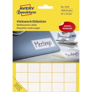 3318 Universal-Etiketten - 22 x 18 mm, weiß, 1.200 Etiketten/30 Blatt, permanent
