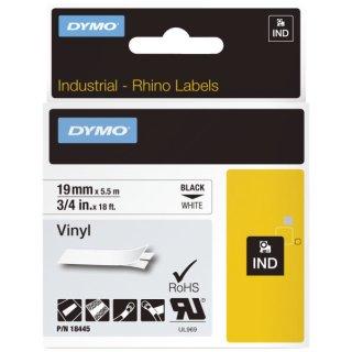Vinylband Industrieband, PVC, laminiert, 5,5 m x 19 mm, schwarz/weiß