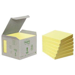 Recycling Notes, pastellgelb - 76 x 76 mm, 6 x 100 Blatt