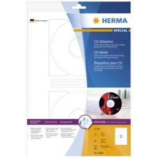 Herma CD-Etiketten weiß 116 mm Papier glänzend 20 St.