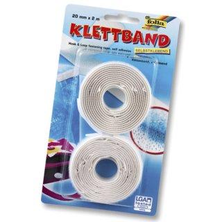 Klettband - 20 mm x 2 m, weiß, selbstklebend