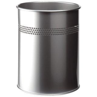Papierkorb Metall rund 15 Liter, P 30mm, metallic silber