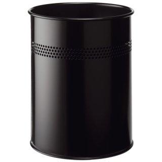 Papierkorb Metall rund 15 Liter, P 30 mm, schwarz
