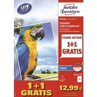 2556-15P Premium Inkjet Fotopapier-DIN A4, hochglänzend, 250 g/qm, 15 + 15 Blatt