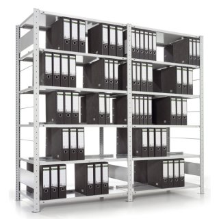 Doppelseitiges Bürosteckregal COMPACT-Grregal,Fachlast ca. 80 kg,125x185x60 cm