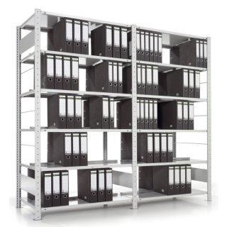 Doppelseitiges Bürosteckregal COMPACT-Anbauregal,Fachlast ca.80 kg,125x220x60 cm