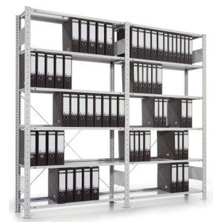 Bürosteckregal COMPACT - Grundregal, Fachlast ca. 80 kg, 100 x 185 x 30 cm