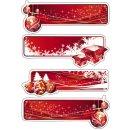 15063 Sticker DECOR Geschenketiketten rot, beglimmert