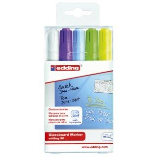 Edding Glasboard-Marker 90 - 2-3 mm, 5er Set sortiert